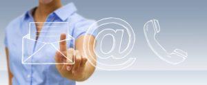 Graphisme enveloppe arobase et téléphone